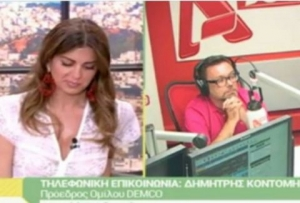 Still from the TV show on which Dimitris Kontominas, the owner of the channel, intervened live on air