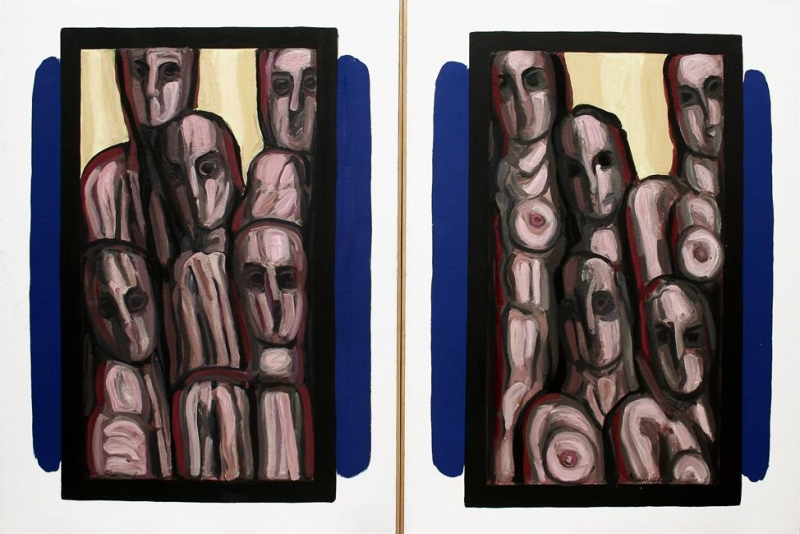 "Dimitrios Sakellaridis, ""The Big Windows (Diptych)"", 1970"