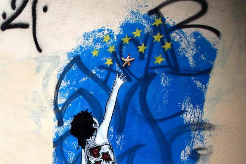 Graffiti on a wall in Athens. Photograph by Oli Scarff/Getty Images
